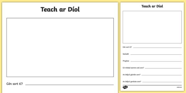 Teach ar Díol Activity Sheet - Irish, worksheet