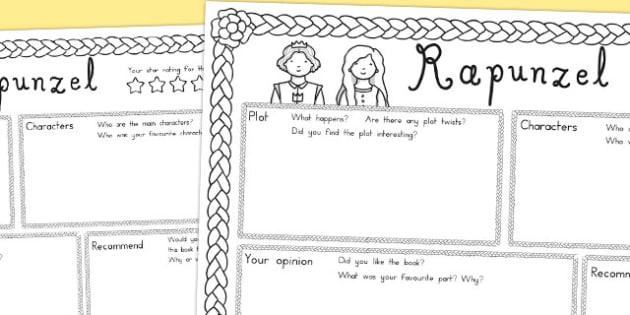 Rapunzel Book Review Writing Frame - australia, rapunzel, book review