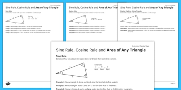 Student Led Practice Sheet Sine Cosine Rule Area of Any Triangle - KS3, KS4, maths, GCSE, revision, practise, triangle, trigonometry, Sin, Cos, Area of triangle