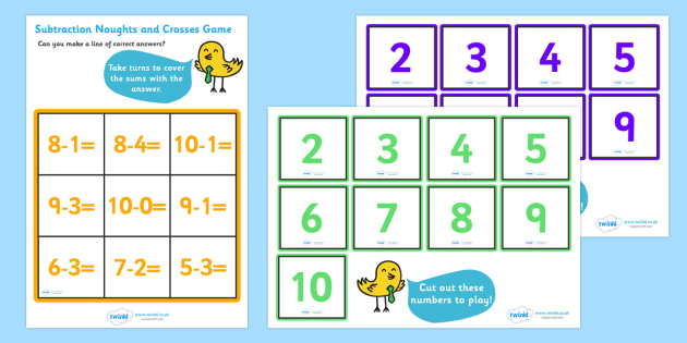 Subtraction Noughts and Crosses Activity (to 10) - Subtraction, math, maths activity, subtract, minus, less, Numeracy, Foundation numeracy, Maths activities