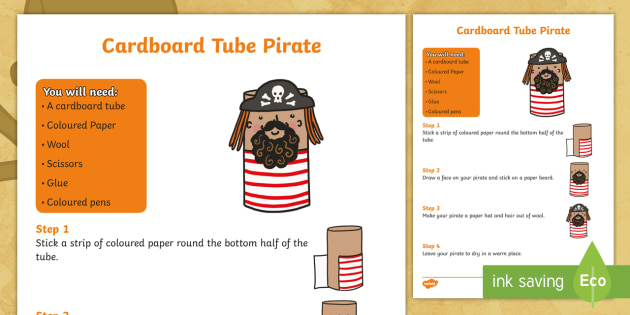 How to Make a Cardboard Tube Pirate Craft - how to make a pirate, pirates, pirate, pirate craft, cardboard tube pirate, pirate craft activity, how to make, craft