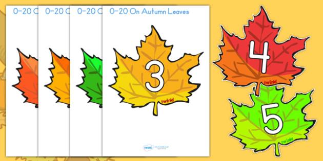 0 20 On Fall Leaves - fall, seasons, weather, math, math display
