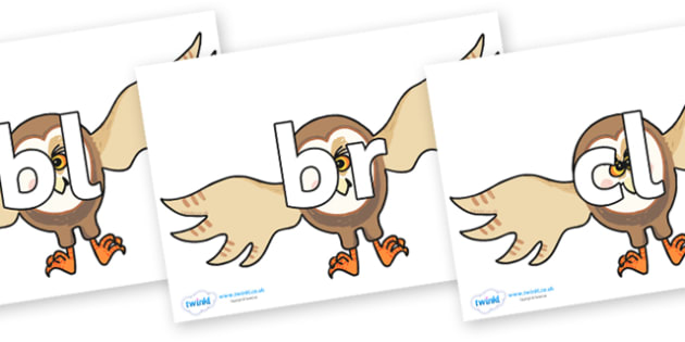 Initial Letter Blends on Hullabaloo Owl to Support Teaching on Farmyard Hullabaloo - Initial Letters, initial letter, letter blend, letter blends, consonant, consonants, digraph, trigraph, literacy, alphabet, letters, foundation stage literacy