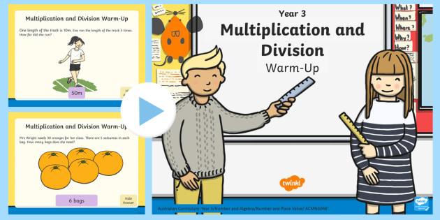 Year 3 Multiplication and Division Warm-Up PowerPoint - Maths, year 3, multiplication, multiply, times table, division, divide, groups of, ,Australia, warmu