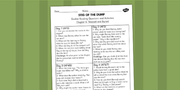 Stig of the Dump Guided Reading Questions Chapter 6 - story books