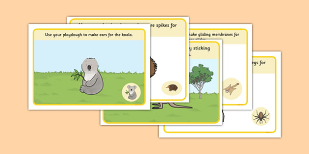 Bush Animals Playdough Mats - australia, Science, Year 1, Habitats, Australian Curriculum, Bush, Living, Living Adventure, Environment, Living Things, Animals, Body Parts, Playdough Mat