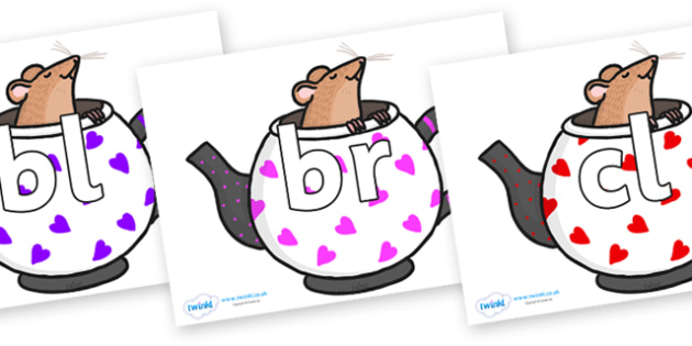 Initial Letter Blends on Mouse in Teapots - Initial Letters, initial letter, letter blend, letter blends, consonant, consonants, digraph, trigraph, literacy, alphabet, letters, foundation stage literacy