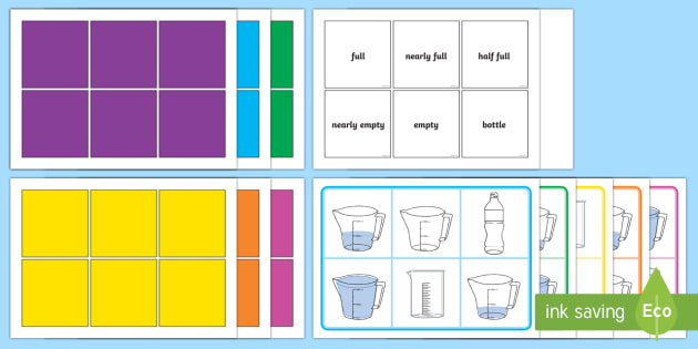 Capacity Words Bingo - Measurement, capacity, litres, units, non-standard units, measure, volume
