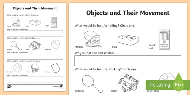 Objects And Their Movement Activity Sheet - objects movement, balls, bouncing, rolling, stacking, Physical Science, prep science, Australian cur
