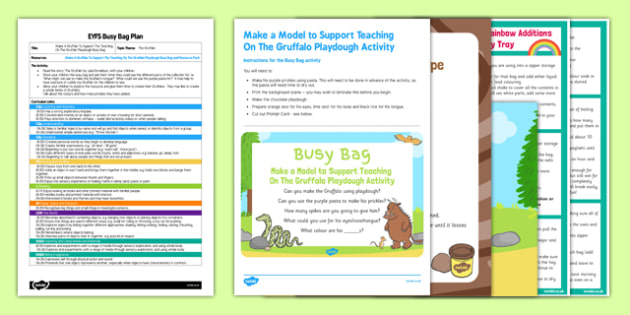 Make A Model To Support Teaching On The Gruffalo EYFS Busy Bag Plan and Resource Pack - pasta, playdough, Julia Donalsdon, Axel Scheffler, Gruffalo