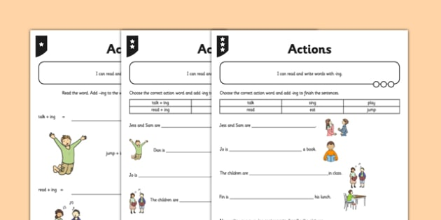 Actions Differentiated Activity Sheet Pack - GPS, verb, grammar, spelling, worksheet