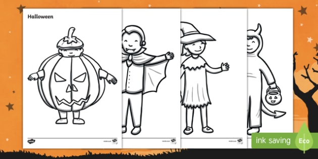 Halloween Fancy Dress Colouring Pages