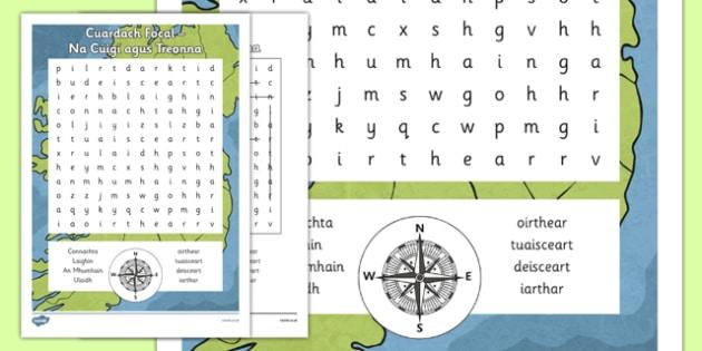 Irish Gaeilge Cúigí agus Treonna Word Search - irish, gaeilge, word search, pack, Tíreolaíocht