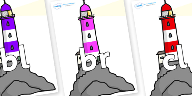 Initial Letter Blends on Lighthouses - Initial Letters, initial letter, letter blend, letter blends, consonant, consonants, digraph, trigraph, literacy, alphabet, letters, foundation stage literacy