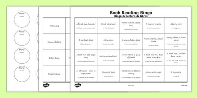 Book Reading Bingo Activity Sheets Spanish Translation - spanish, book, reading, read, bingo, activity, worksheet