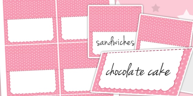 Princess Themed Birthday Party Editable Food Lables - parties