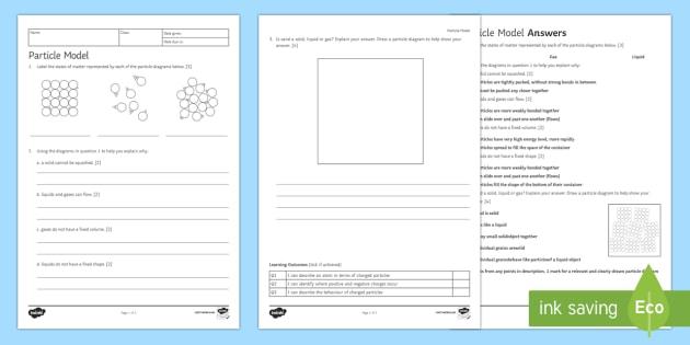 Particle Model Homework Activity Sheet - Homework, worksheet, particle, particle model, states of matter, solid, liquid, gas, particles, prop