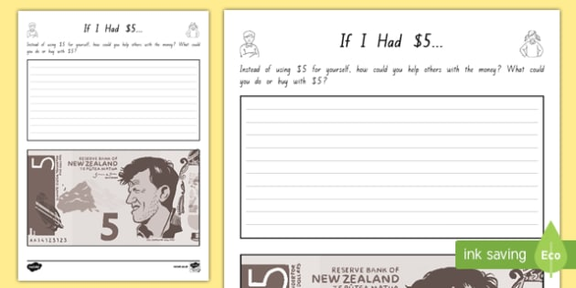 If I Had 5 Activity Sheet - nz, new zealand, if i had, money, dollars, activity, worksheet