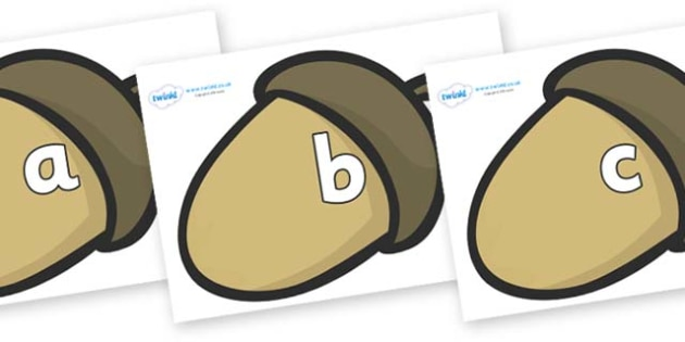 Phase 2 Phonemes on Brown Acorns - Phonemes, phoneme, Phase 2, Phase two, Foundation, Literacy, Letters and Sounds, DfES, display