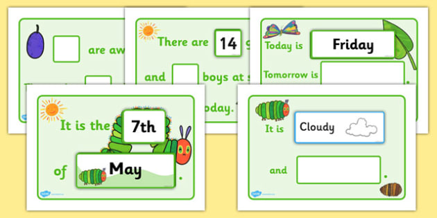 Themed Classroom Display Calendar to Support Teaching on The Very Hungry Caterpillar - the very hungry caterpillar, calendar, classroom display, display calendar, display
