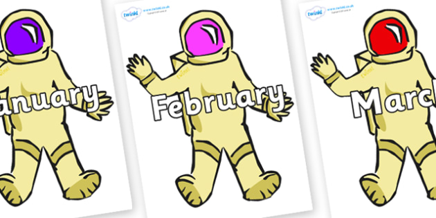 Months of the Year on Astronauts - Months of the Year, Months poster, Months display, display, poster, frieze, Months, month, January, February, March, April, May, June, July, August, September
