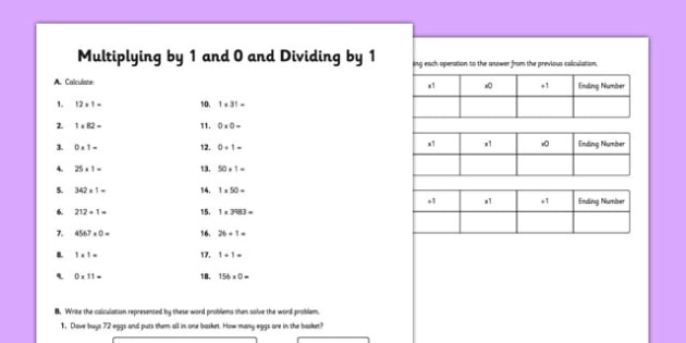 Multiplying and Dividing by 1 and 0 - multiplying, dividing, 1, 0
