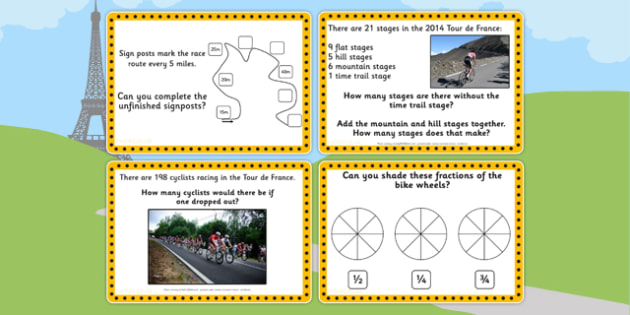 Tour de France KS1 Maths Challenge Cards - le tour, numeracy