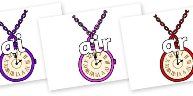 Phase 3 Phonemes on Pocket Watches - Phonemes, phoneme, Phase 3, Phase three, Foundation, Literacy, Letters and Sounds, DfES, display