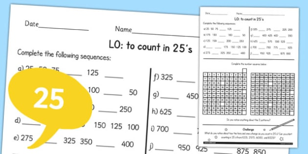 Counting in 25 Worksheet - counting, maths, 25, worksheet, ks2