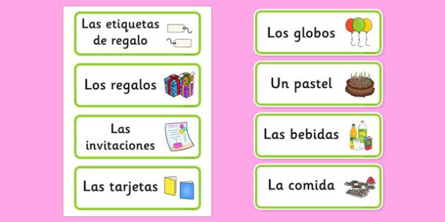 Tarjetas de vocabulario de cumpleaños - cumplir, años, exposición, calendario, palabras