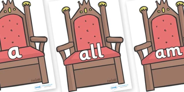 Foundation Stage 2 Keywords on Thrones (Plain) - FS2, CLL, keywords, Communication language and literacy,  Display, Key words, high frequency words, foundation stage literacy, DfES Letters and Sounds, Letters and Sounds, spelling