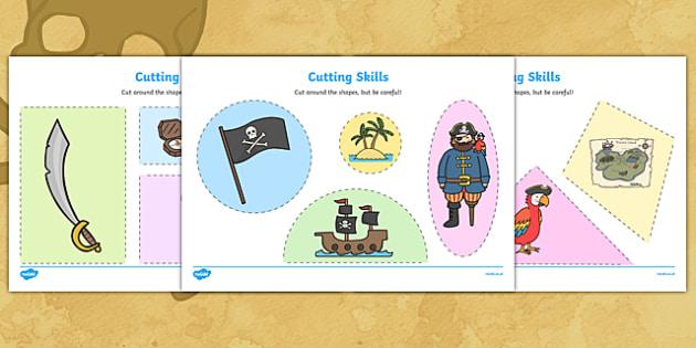 Pirate Themed Cutting Skills Worksheets - cut, fine motor skills