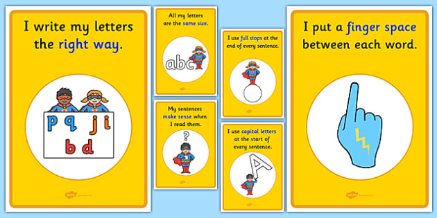 Sentence Writing Prompts Display Posters - sentence, capital letters, full stops, finger spaces, letter formation, writing, display posters
