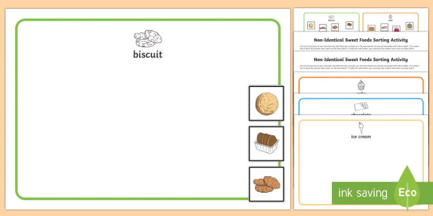 Workstation Pack: Non Identical Sweet Foods Sorting Activity Pack