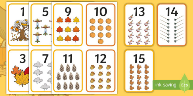 Fall Themed Number Flashcards