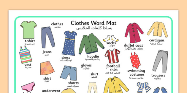 Clothes Word Mat Arabic Translation - arabic, clothes, different, word mat, mat, writing aid, words, wear, blouse, jeans, t-shirt, top, hat