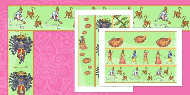 The Story of Rama and Sita Display Border - diwali, hinduism