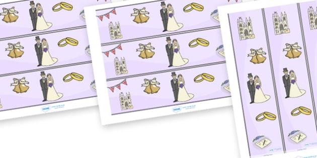 The Royal Wedding Display Borders - Royal Wedding, The Royal Wedding, Display border, border, display, Jack in the box, diabolo, jacks, pop gun, skittles, spinning top, marbles, pogo, doll