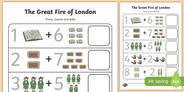 The Great Fire of London 0 to 10 Trace, Count and Add Activity Sheet - great fire of london, 0-10, trace, count, add, activity, numeracy, maths, mathematics, worksheet