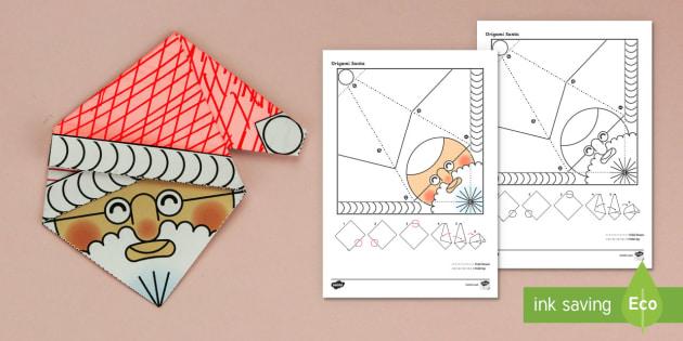 Simple Origami Christmas Santa Paper Craft - 3D paper craft, paper craft, Santa, Father Christmas, decoration, christmas decorations