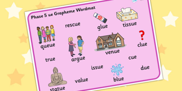 Phase 5 ue Grapheme Word Mat - phase five, graphemes, literacy