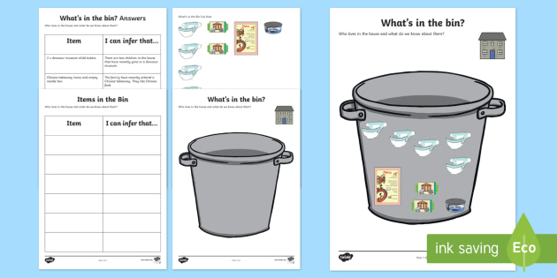What's in the Bin? Inference Activity Sheet - inferences, autism, making links, receptive language, ASD, Asperger's , worksheets