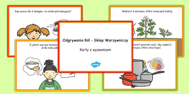 Karty z wyzwaniami Warzywniak po polsku - owoce, warzywa