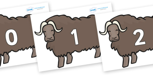 Numbers 0-50 on Chinese Ox - 0-50, foundation stage numeracy, Number recognition, Number flashcards, counting, number frieze, Display numbers, number posters