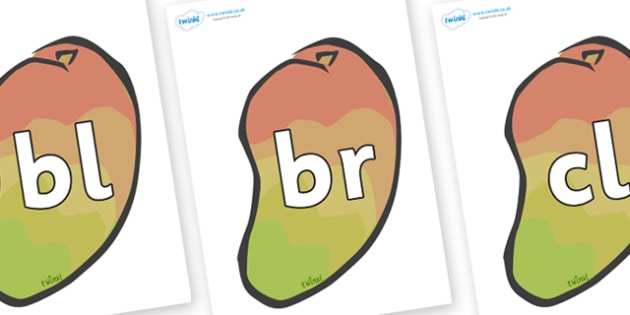 Initial Letter Blends on Mangoes - Initial Letters, initial letter, letter blend, letter blends, consonant, consonants, digraph, trigraph, literacy, alphabet, letters, foundation stage literacy