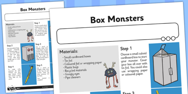 Instructions Box Monsters - instructions, box, monsters, craft