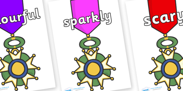Wow Words on War Medals - Wow words, adjectives, VCOP, describing, Wow, display, poster, wow display, tasty, scary, ugly, beautiful, colourful sharp, bouncy