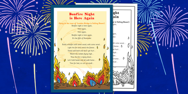 Bonfire Night Is Here Again Rhyme - bonfire night, here, again, rhyme, eyfs, early years