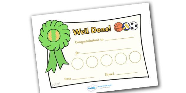 Sport Sticker Reward Certificates (30mm) - Sport Reward Certificate (30mm), reward certificate, certificate, sport, reward, 30mm, stickers, twinkl stickers, award, certificate, well done, behaviour management, behaviour, sport, sports, football, netb