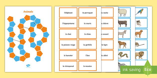 French Animals Board Game - French Games, animals, vocabulary,